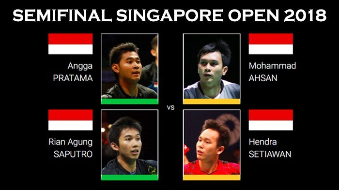 Live Streaming Semifinal Singapore Open 2018, 'Perang Saudara' 4 Wakil Indonesia Menuju Final