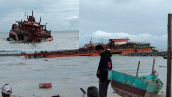 Kapal Isap Kandas di Pantai Matras, Lambung Robek Menghantam Talud, Nelayan Ungkapkan Rasa Syukur