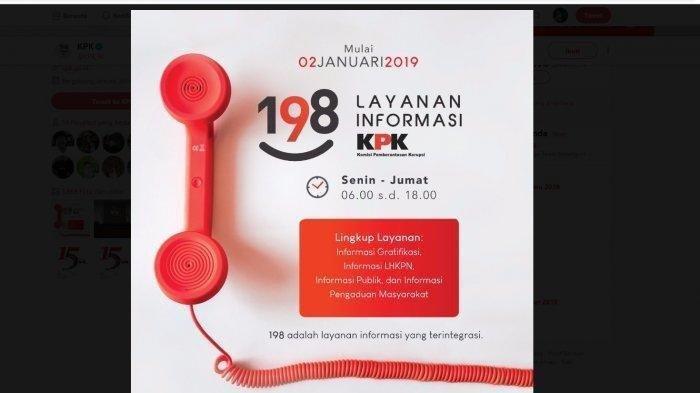 Hari Ini KPK Resmi Buka Layanan Pengaduan Korupsi dari Warga lewat Call Center 198