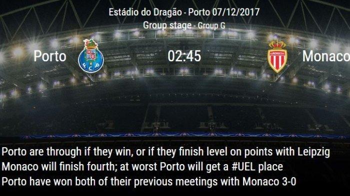 Saksikan LIVE STREAMING Porto Vs AS Monaco Malam Ini Disini! Mulai Pukul 2.45 WIB