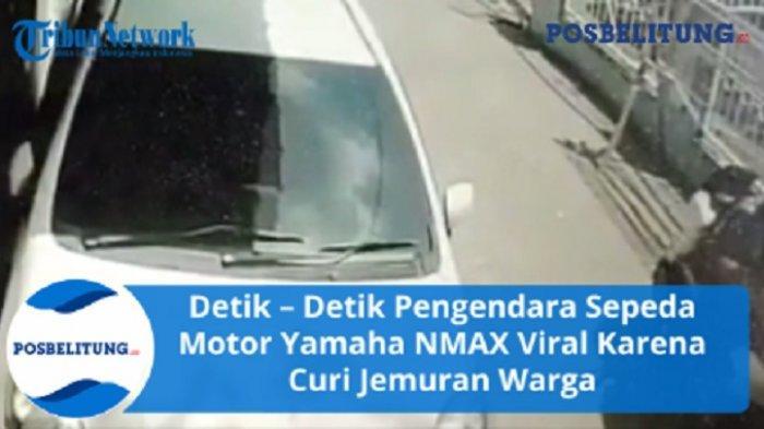 Detik-detik Pengendara Motor NMAX Angkut Tempat Jemuran di Depan Rumah Warga