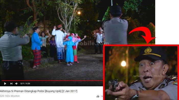 Masran sedang beradegan menodongkan pistol sambil berteriak 'angkat tangan' dalam serial Buyung Upik. Youtube RCTI - LAYAR DRAMA INDONESIA/posbelitung.co.