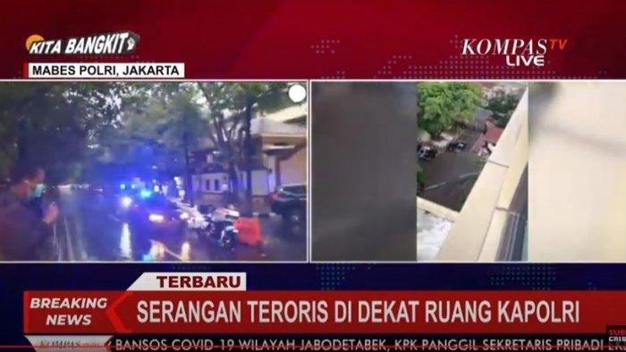 Terduga Teroris Masuk ke Mabes Polri, Diduga Baku Tembak Terjadi Dekat Pintu Kapolri.