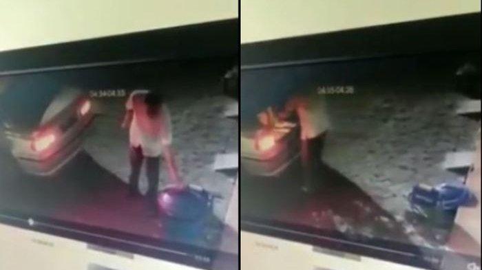 Rekaman CCTV Viral, Pengemudi Mobil BMW Curi Tong Sampah di Depan Kantor Kota Malang