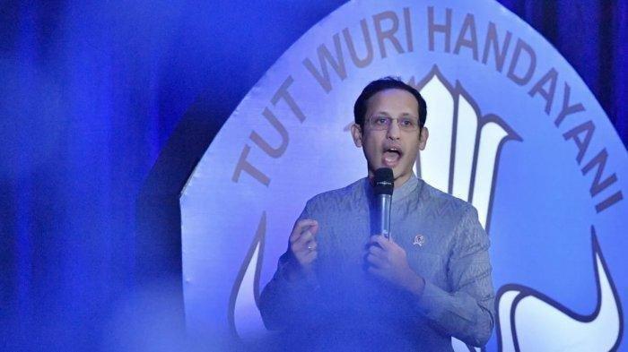 Mendikbud Nadiem Makarim saat luncurkan empat kebijakan merdeka belajar dalam rapat koordinasi kebijakan pendidikan tinggi di Gedung D kantor Kemendikbud, Senayan, Jakarta