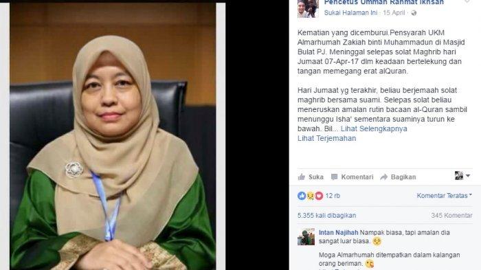 Mengharukan! Dosen Ini Meninggal Saat Membaca Alquran, Kesehariannya Buat Netizen Kagum