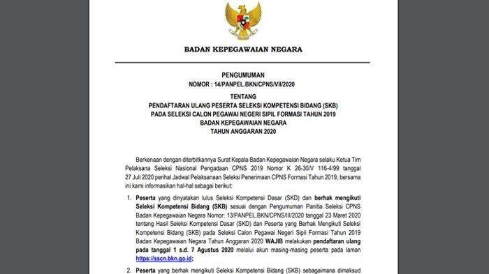 Mulai Hari Ini Peserta SKD Seleksi CPNS Formasi 2019 Wajib Lakukan Daftar Ulang di sscn.bkn.go.id