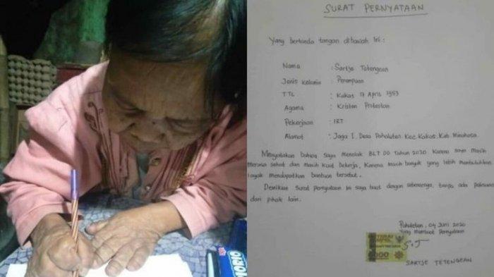 Kisah Viral Nenek Sartje, Alasannya Tandatangani Menolak Tolak BLT Bikin Haru Warga