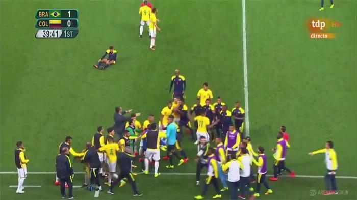 (VIDEO) : Neymar Bikin Ulah, Laga Brasil Versus Kolombia di Olimpiade Jadi Rusuh