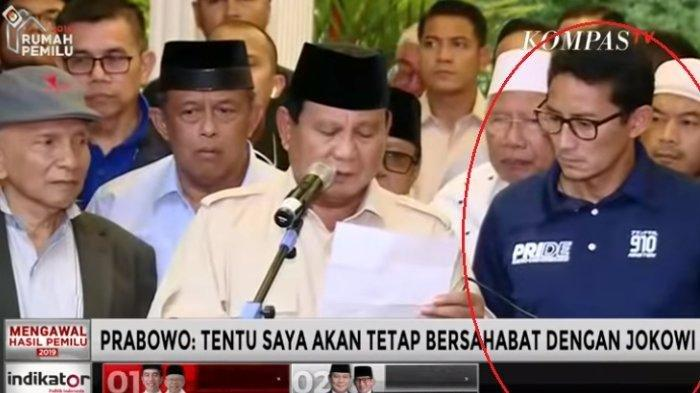 Prabowo Deklarasi Kemenangan, Ekspresi Sandiaga Uno Jadi Sorotan, Ini Komentar Pakar Bahasa Tubuh