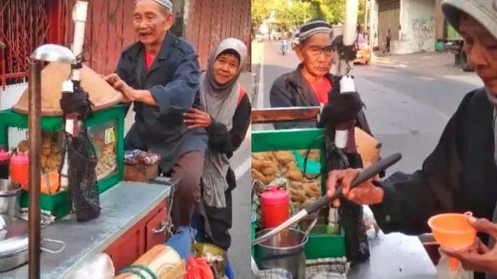 Setia Sampai Tua, Pasangan Kakek Nenek Mengayuh Gerobak Sepeda Jualan Bakso