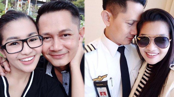 Pedangdut Fitri Carlina dan sang suami yang berprofesi pilot, Hendra Sumendap