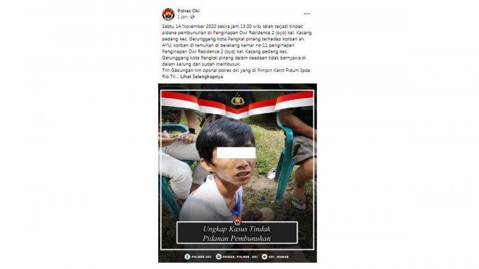 Yahya, Eksekutor Ayu Driver Ojol di Pangkalpinang Ditangkap di OKI, Asi: Malam Minggu Pernah Datang