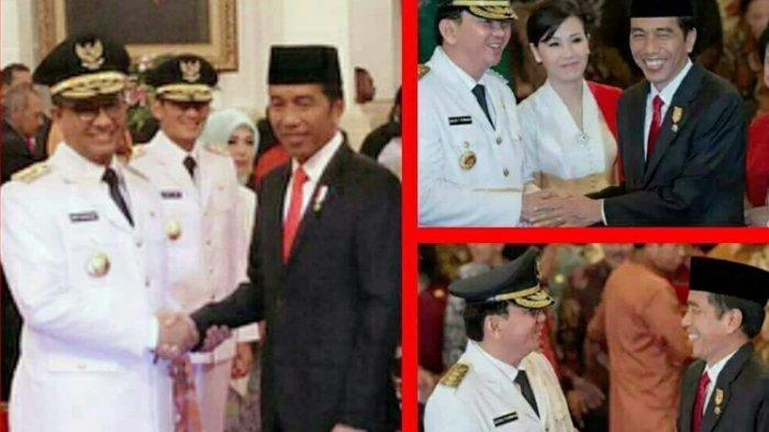 Jokowi saat lantik Anies (kiri), Jokowi saat lantik Ahok (kanan)