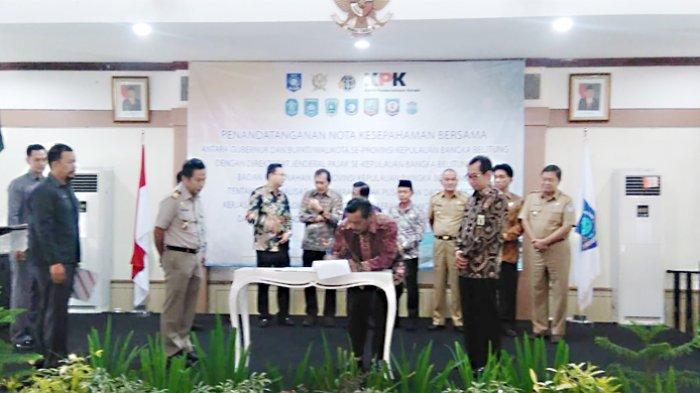 Pemkab Belitung Bersama Dirjen Pajak dan BPN Tandatangani MoU Optimalisasi Penerimaan Pajak