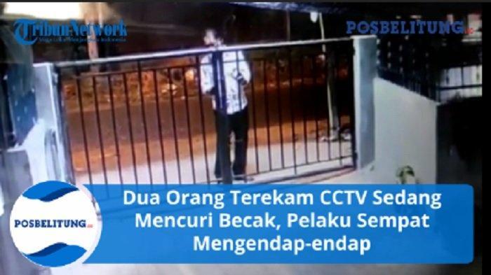 Tiga Orang Terekam CCTV Sedang Mencuri Becak, Pelaku buka Gembok Pagar Rumah