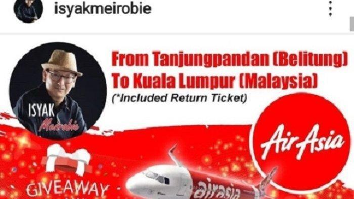 Wabup Belitung Isyak Meirobie Kasih Tiket Gratis ke Malaysia untuk 4 Pemenang, Ini Caranya!