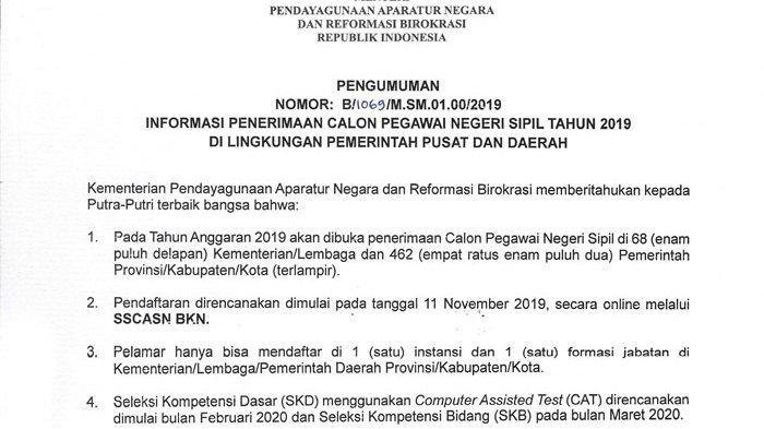 Penerimaan CPNS Daerah di Bangka Belitung Ada Sebanyak 1.360 Formasi, Ini Rinciannya