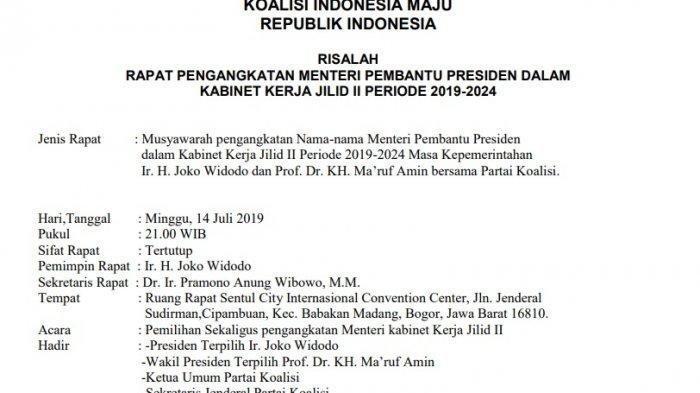 Beredar Lagi Daftar Menteri Jokowi 2019-2024, Ini Nama-namanya, Tapi Apa Kata TKN? Begini Jelasnya