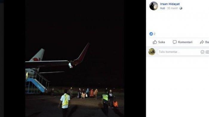 Lion Air JT633 Rute Bengkulu-Cengkareng Tabrak Tiang, Sayap Kiri Pesawat Robek