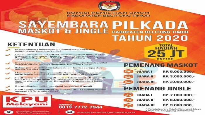 Sambut Pilkada 2020, KPU Belitung Timur Gelar Lomba Jingel dan Maskot, Total Hadiah Rp 25 Juta