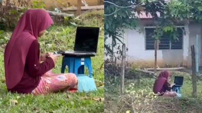 VIRAL Gadis Duduk di Bawah Pohon Sambil Buka Laptop, Cari Jaringan Internet Untuk Kelas Online