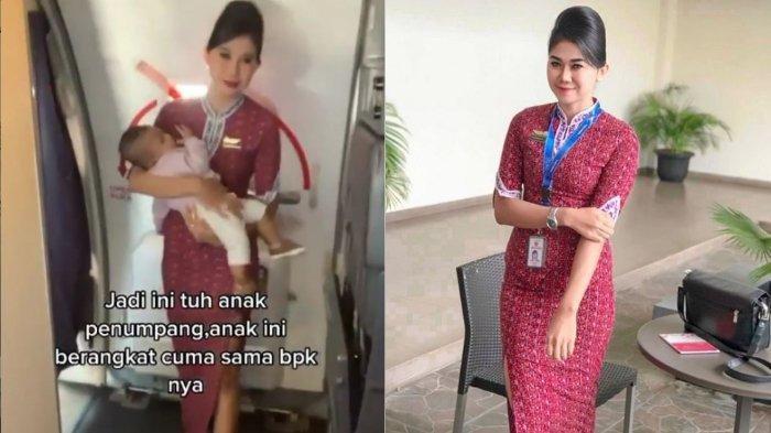 Viral Pramugari Gendong Bayi Wajahnya Diarahkan ke Dada, Tanya ke Bapaknya: Mau Asi Kalinya?