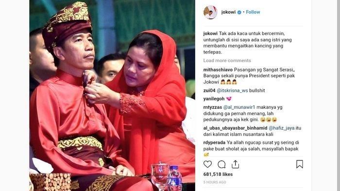 Jokowi Unggah Foto sang Istri Mengancingi Bajunya, Sandiaga Uno Posting Foto Ala Milenial