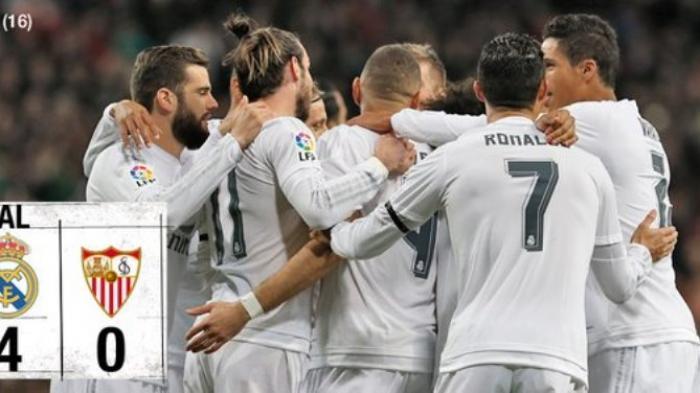 Trio BBC Sumbang Gol, Real Madrid Pesta Gol ke Gawang Sevilla