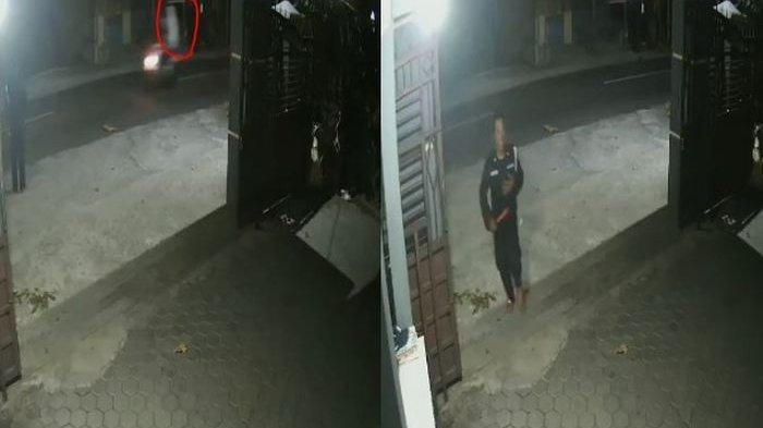 Rekaman CCTV Penampakan Diduga Pocong Dibonceng Pengendara Motor dalam Posisi Berdiri