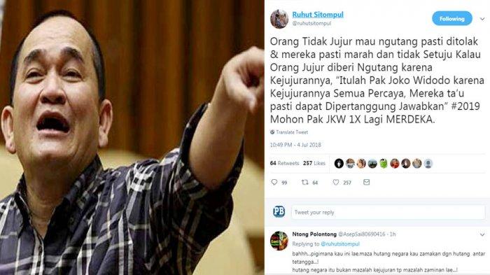 Cuitan Ruhut Sitompul Soal Utang dan Presiden Jokowi, Malah DItagih Janji Ini