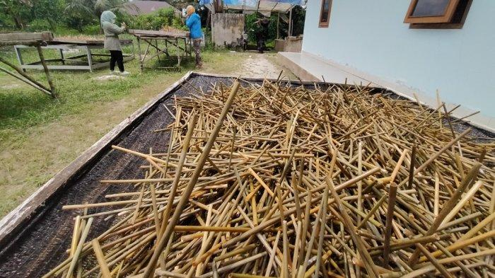 Produksi Sedotan Purun Ramah Lingkungan Buatan Tangan Ibu-ibu Belitung
