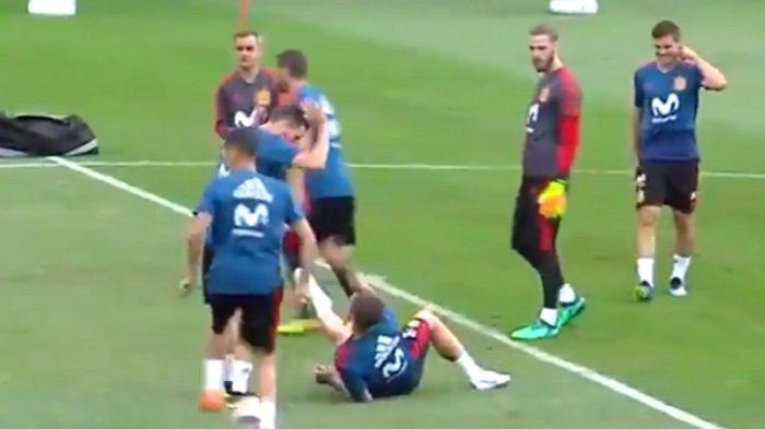 Latihan Bersama Timnas Spanyol, Sergio Ramos Ejek Cristiano Ronaldo, Simak Videonya!