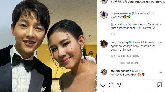 Shenina Cinnamon foto bersama aktor Korea, Song Joong Ki yang membuat iri seluruh artis tanah air