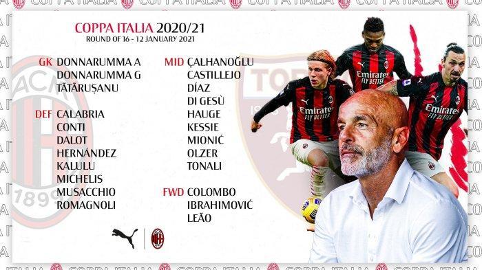 Coppa Italia Babak 16 Besar, Dini Hari Nanti AC Milan Main di Laga Pembuka, Juventus Besok