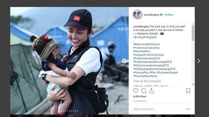 Sonia Fergina Citra Jadi Relawan Bantu Korban Gempa dan Tsunami di Palu, Ini yang Dilakukannya