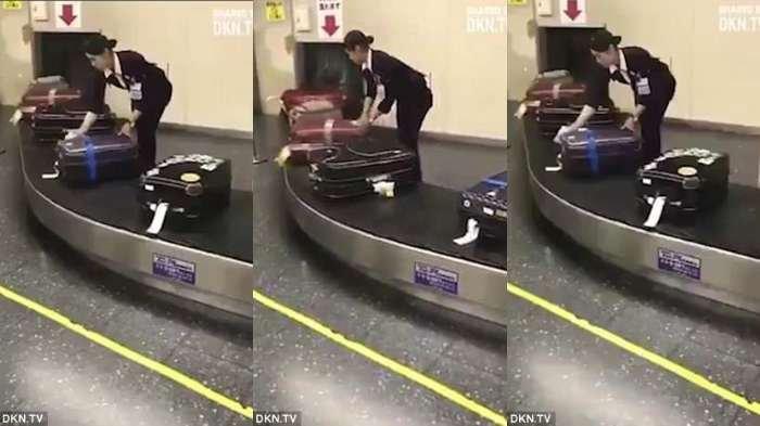 Staf Bandara di Jepang Terekam Membersihkan Debu di Koper Penumpang dengan Giat