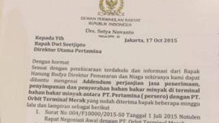 Beredar Surat Setya Novanto Minta Tagihan ke Pertamina