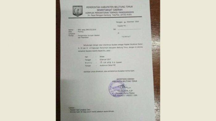 Beredar Surat Pelantikan Pejabat, Yuslih Akui Rombak Komposisi Pejabat di Beltim