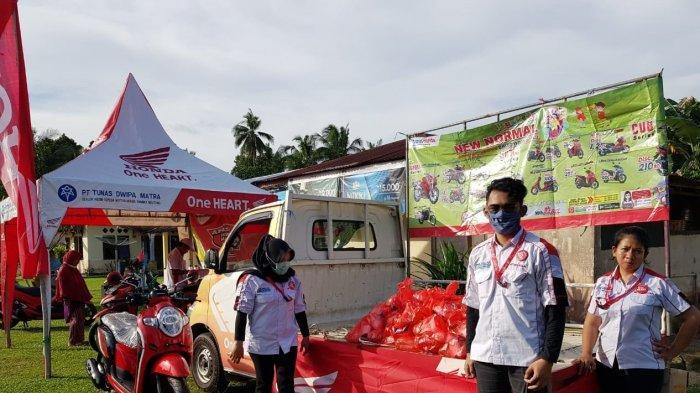 TDM Honda Belitung kembali Bagi-Bagi Sembako dan Servis Ekonomis di Desa Air Sekuk dan Desa Pilang