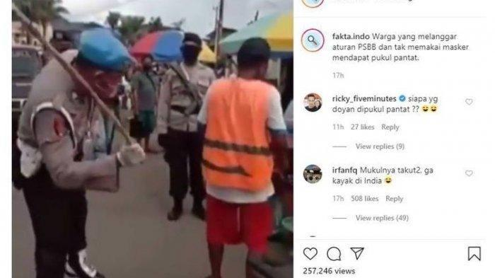 Viral Video Oknum Polisi Pukuli Warga yang Tak Gunakan Masker dengan Tongkat Rotan, Ini Faktanya