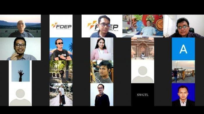 Diskusi webinar bertemakan Tata Niaga Timah Indonesia yang diselenggarakan Forum Diskusi Ekonomi dan Politik (FDEP), Senin (11/1/2021).