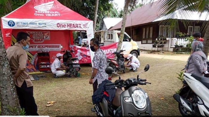 TDM Honda Belitung Kembali Bagi-bagi Masker dan Servis Ekonomis di Dinas Pemerintahan