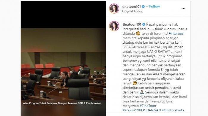 Anggota DPRD DKI Jakarta, Agustina Hermanto alias Tina Toon protes terkait pelaksanaan balapan Formula E.