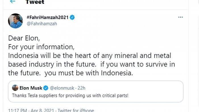 Wakil Ketua Umum Partai Gelora, Fahri Hamzah baru-baru ini mencolek Elon Musk dalam sebuah cuitannya di Twitter.