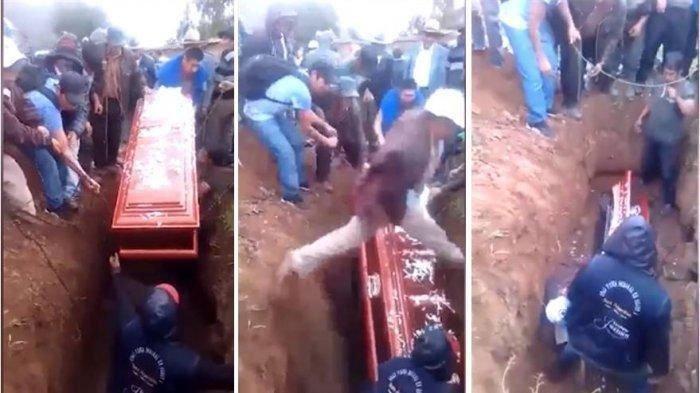 Viral di Medsos, Gegara Pria ini Terpeleset di Liang Lahat, Jenazah Menggelinding Keluar Peti Mati