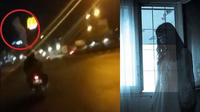 Ada Pocong di Atas Kepala Pengendara Motor, Terekam Kamera Pengendara Lain di Jalanan