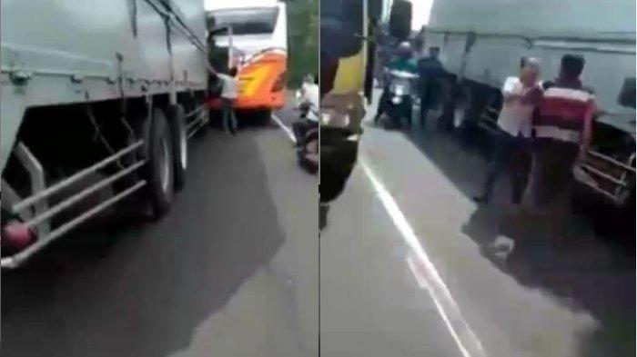 Video Viral Sopir Truk dan Sopir Bus Cekcok Gara-gara Tak Mau Mengalah di Jalan Raya