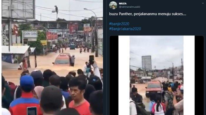 Viral Angkot Isuzu Panther Berwarna Merah Berhasil Terobos Genangan Banjir, Warga Sambut Meriah
