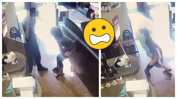 Menjijikan! Wanita Terekam CCTV Buang Air Besar di Lantai Restoran dan Melemparnya ke Arah Staff